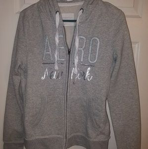Gray aeropostle hooded jacket sz Medium